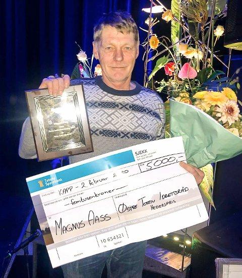 Magnus Aass ble nylig tildelt Østre Toten idrettsråds hederspris.