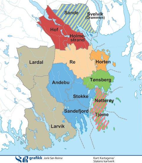 Stadig i endring: Fire av de fem første «Sannerslåingene» kommer i Vestfold. Den femte finner sted mellom Rissa og Leksvik som i dag ligger i hvert sitt trønderfylke.
