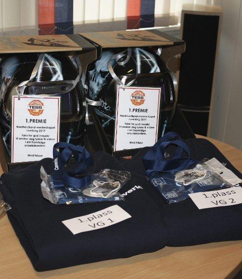 Vinnarane fekk sveisemaske, sponsa av Tess, samt genser og diverse artiklar frå Caverion.