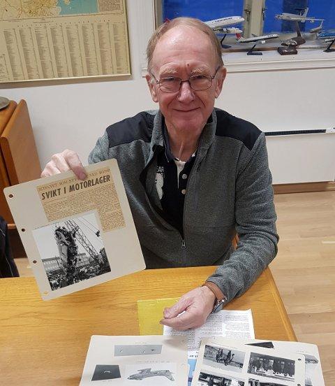 Siegfried Hernes (77) med utklippene fra den gang.