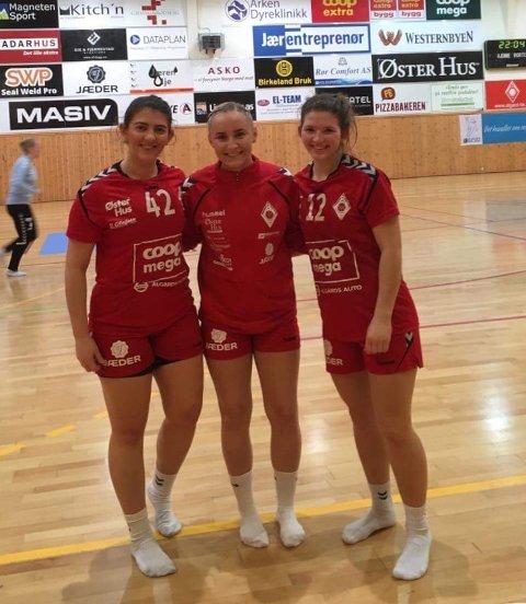 Adea Shabanah (t.v.), Oda Skråmestø og Kristine Karlsrud Byrkjedal var lagvenninner i Ålgård håndball. Nå blir trolig de to førstnevnte å se i Figgjo-drakt neste sesong.