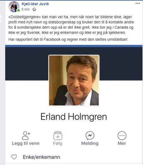 Dette er profilen Juvik nå har meldt inn til Facebook.