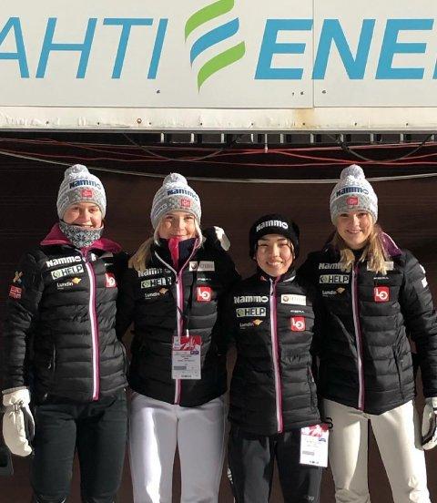 FORNØYD: Felles innsats fra de norske jentene førte til en 7. plass i lagkonkurransen for junorilaget f. v. Ingrid Hordvik Kleven, Frida Berger, Thea Minyan Bjørseth og Mathilde Årva Selbekk