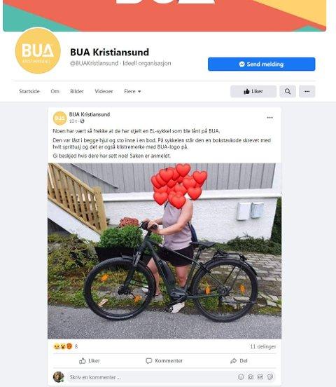 Dette er elsykkelen  som ble stålet. Skjermdump fra Bua Kristiansund 02.08.2021