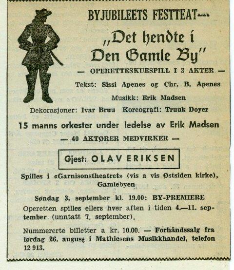 Annonsen i 1967. Sjekk billettprisene.
