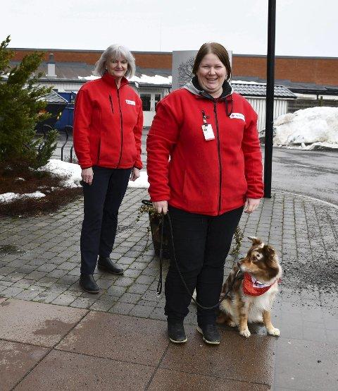 Røde kors arrangerer: Christine Røkaas (foran) med hunden Gira og Anna Kind fra Sande Røde Kors er med på å arrangere nytt besøksvenn med hund kurs. FOTO: INGUNN HÅKESTAD BRÅTHEN