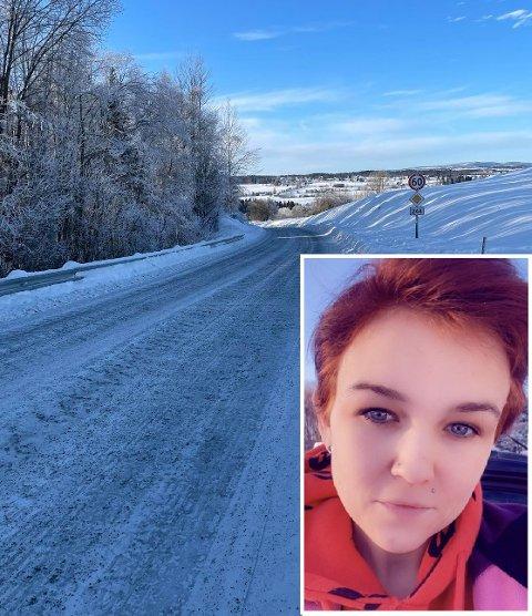 SKREMMENDE: Linny Blien fikk hjernerystelse etter at hun kjørte i grøfta for å unngå kollisjon med en lastebil på fv 244. Nå etterlyser hun den godt voksne mannen som stoppet og hjalp henne.
