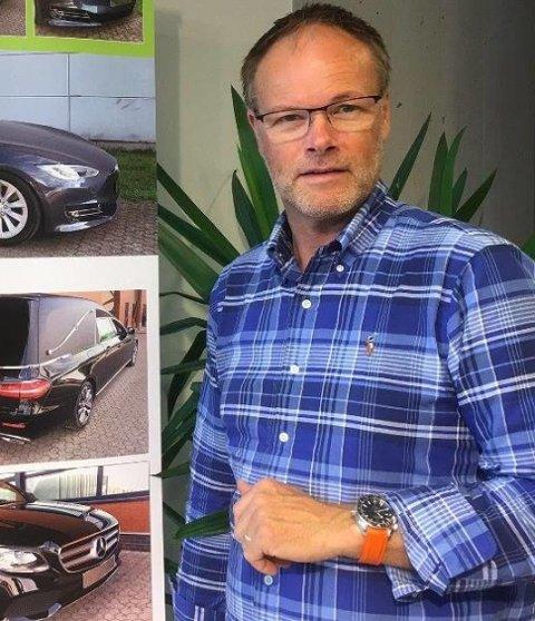 Jan Erik Naley står bak begravelsesbiler som Tesla Model S og Mercedes-AMG GLS. Spennet er med andre ord stort.