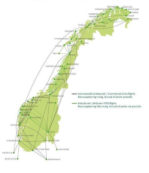 Her er Widerøes  rutekart. Blå ruter er kommersielle, og Widerøe avgjør selv om de skal fortsette. De grønne er anbudsruter.