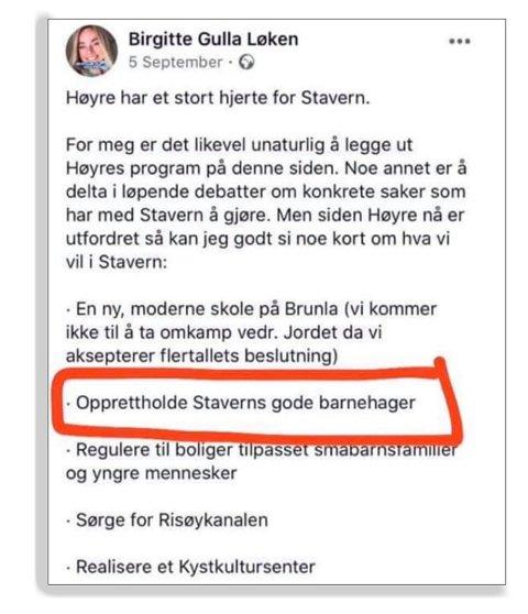 FØR VALGET: Faksimile av et FB-innlegg fra Birgitte Gulla Løken.