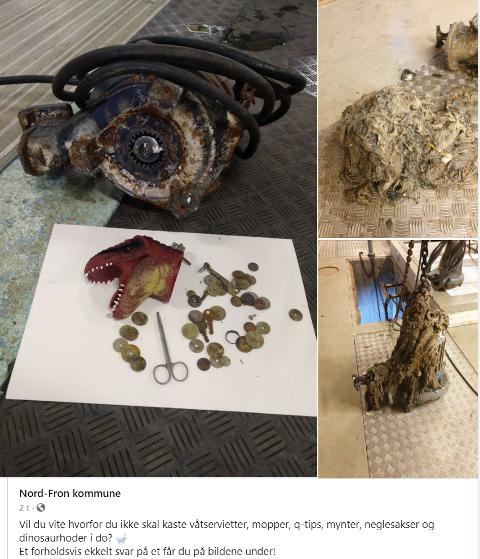 Dette er noe av det som Nord-Fron kommune har funnet i sine kloakkledninger - når ledningene går tette.  - Dinosaurhoder er heller sjeldent å finne, sier Erik Kvernes i Nord-Fron kommune.