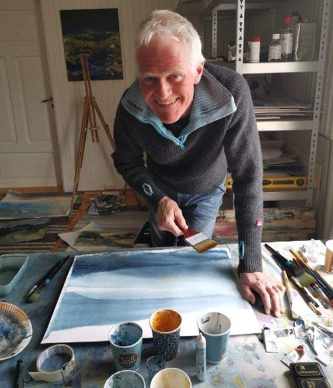 SPONTAN TEKNIKK: For tida er Ivar veldig glad i å male akvareller. – I denne teknikken ligger øyeblikkslyrikken, mener han.
