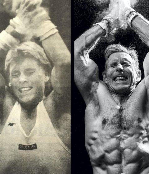 30-års forskjell: Tre desennier skiller de to bildene ovenfor. I helgen tok Espen Jansen sin 96. gullmedalje 30 år etter at han deltok i sitt første norgesmesterskap for senior. Begge Foto: Privat
