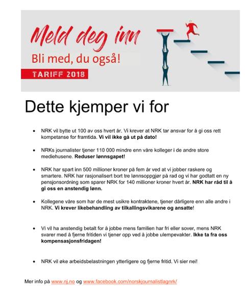 KRAV: Dette kjemper NRK-journalistene for.