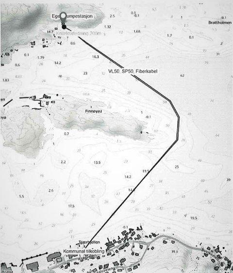 Slik ser den ut, den foreslåtte traseen for vann- og avløpsledninger og fiberkabel fra Korshavn til Krana. I tillegg søkes det om å legge ut en sløyfe med totalt 200 meter kollektorkabel for å hente varme fra sjøen.