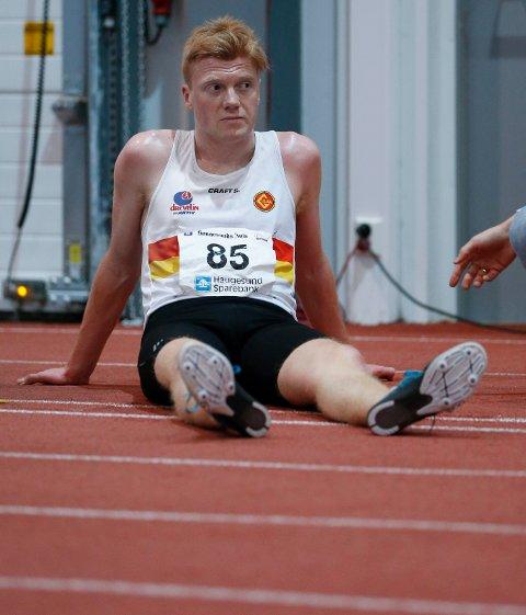 SOLID INNSATS: Mats Hauge vant sølv på 1500-meteren i Bergen lørdag kveld.