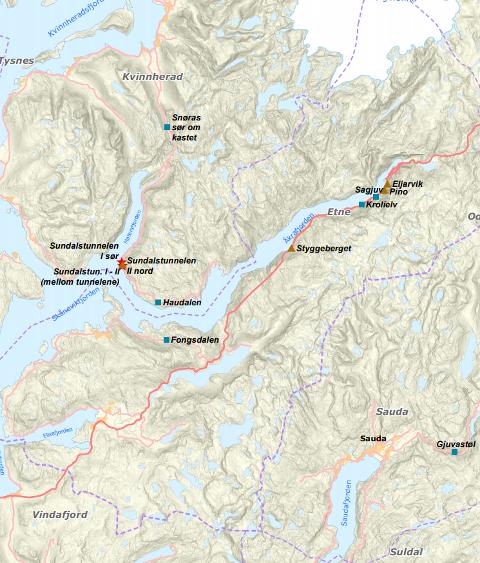 Tunnelane som skal utbetrast ligg truleg på ei strekkje på Baugstranda. (Kart: Statens vegvesen).