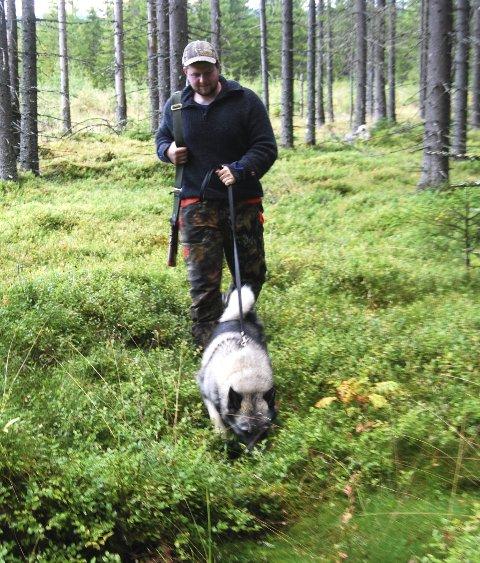 På sporet: Her har jaktleder Matheas Amb og gråhunden Varg funnet ferske elgspor.