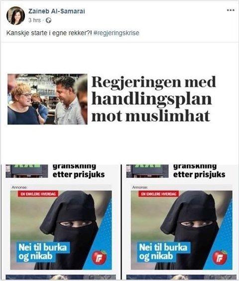 EGNE REKKER: Ap-politiker Zaineb Al-Samarai ba Frp starte i egne rekker i Facebook-innlegg. Innlegget er nå slettet. Foto: Skjermdump/Zaineb Al-Samarai/Facebook