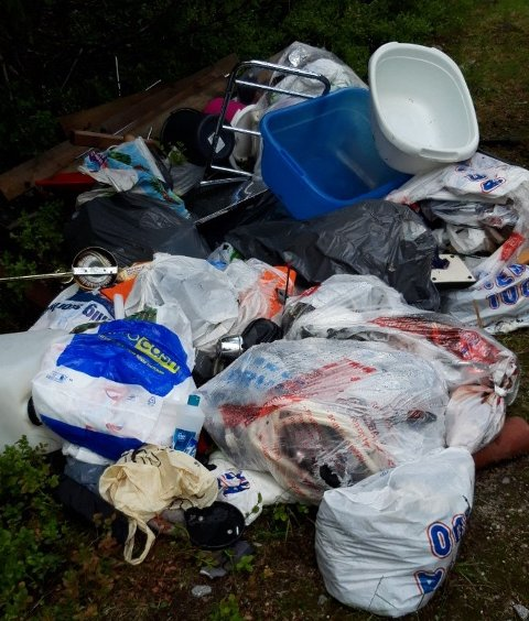 Dumpet i skogen: Deler av søpla oppsynsmann Arvid Snellingen måtte fjerne i Nordmarka.