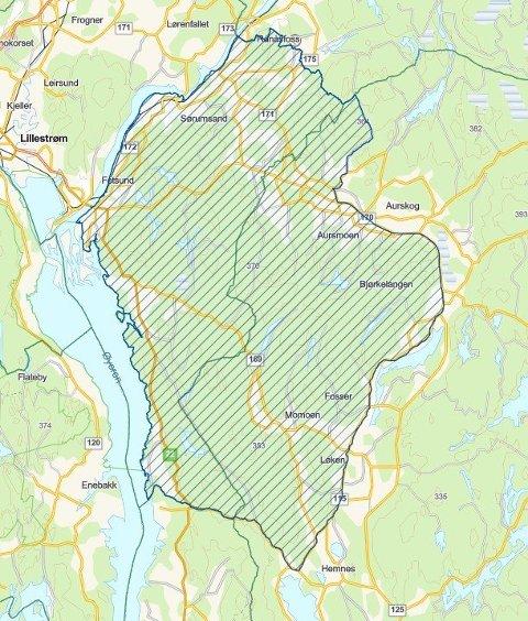 Lisensfellingsområdet for Aurskog-reviret ble endret underveis, slik så det ut en uke ut i januar 2021. Illustrasjon: Statsforvalteren i Oslo og Viken.