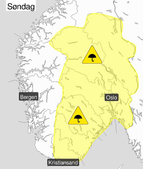 VARSEL: Meteorologene har sendt ut gult farevarsel for hele Østlandet som gjelder søndag ettermiddag og kveld.
