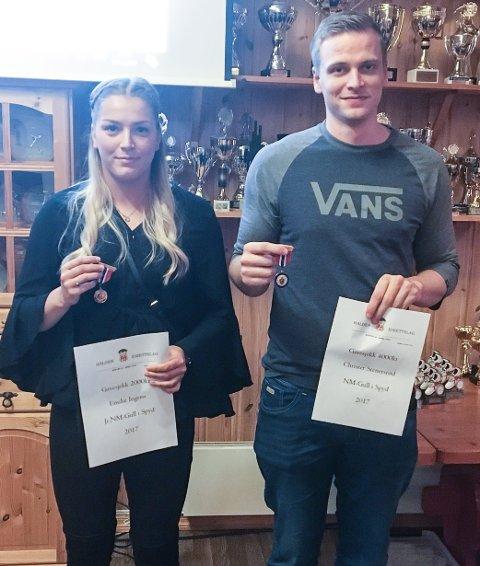 NM-GULL: Emilie Ingerø (junior) og Christer Stenersrød (senior) vant begge NM-gull i spydkast i 2017, og ble hedret under HILs sesongavslutning.