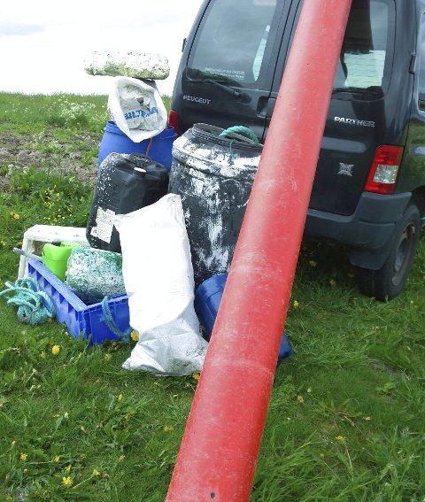 Plast: Funnet på søndagsturen 18. juni i sommer på Laukvikøyene.