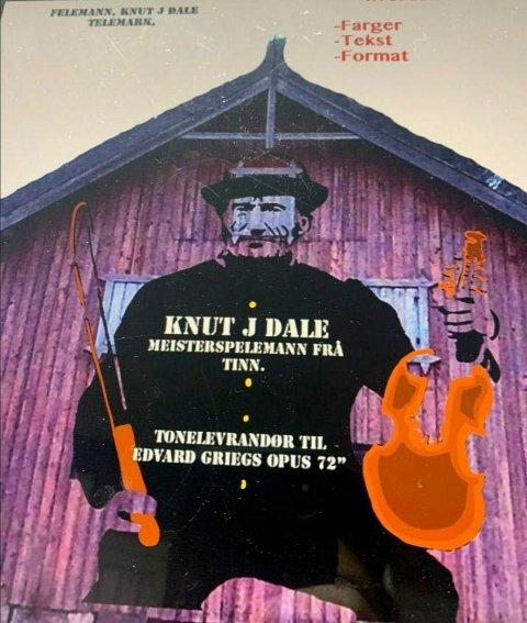 SKISSE: Omtrent slik ser kunstner Rune Francisco Fauske for seg maleriet av spelemannen Knut Dahle. Grunneier Torbjørn Myhre har stilt låveveggen til disposisjon.