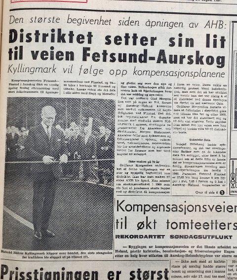 BEGIVENHET: Statsråd Håkon Kyllingmark åpnet veien, etter at Aurskog-musikken hadde spilt nasjonalsangen. Faksimile fra Akershus Arbeiderblad/Romerikes Blad.