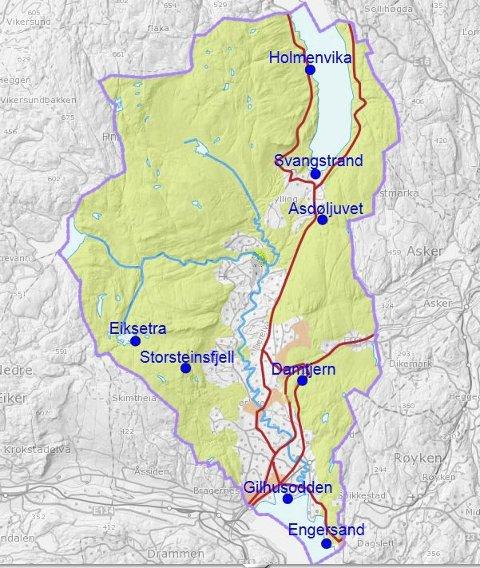 PÅ KART: Her kan du se hvor alle de forskjellige stedene er på kartet. Det eneste som ikke er merket av, er Lierelva, som renner gjennom kommunen.