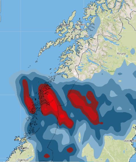 Nedbør søndag ettermiddag og kveld, ifølge kartet fra Storm Geo.
