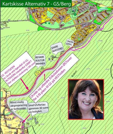 Høyres Hilde M. Feragens forslag (Alternativ 7) med undergang ved Morafeltet. – Det vil gi sikker kryssing av veien, for beboerne og de som benytter sykkelveien fra Berg, sier hun.