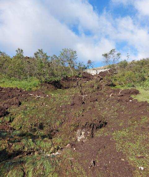 MYE JORD: Det er mye jord som har rast ned skråningen mot Øvre Øyevatn.