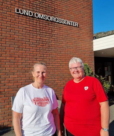 10.000 KRONER: Gruppeleder i Lund Arbeiderparti, Siw Karin Utheim,  og leder av Lund Arbeiderparti, Ragnhild Egeland, har gitt 10.000.kroner til en ny minibuss i Lund. Nå utfordrer de andre politiske parti i Lund.
