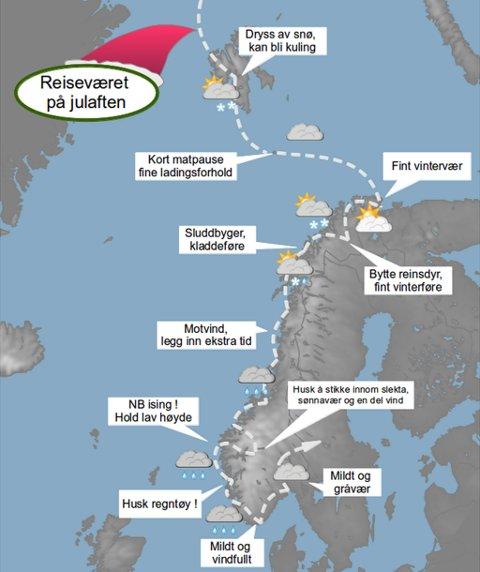 ALTERNATIVT KART: Slik ser meteorologene i Tromsø for seg julenissens reiserute gjennom Norge. Det hele starter på Nordpolen og via Svalbard, før det bærer sørover.