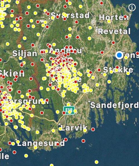 UVÆR: Det var mest lynnedslag i Kodal og Andebu mandag kveld.