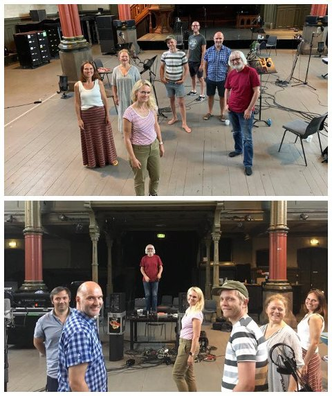 Julestemning i juni: Pust på plateinnspilling med produsent Erik Hillestad på trygg avstand i Kulturkirken Jakob i sommer.