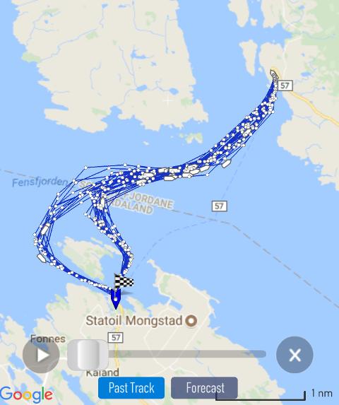 Dette bildet viser at ferja har veksla på å gå sør aust av Håvarden eller meir direkte via vestsida. Begge deler skal la seg gjera innan rutetabellen, då ferja har moglegheiten for å auka farten.