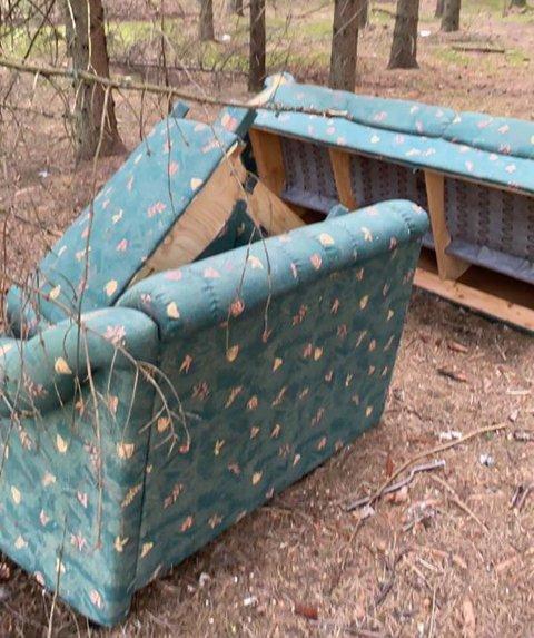 KASTET I NATUREN: Sofaen ligger henslengt i skogkanten i umiddelbar nærhet til et renseanlegg.