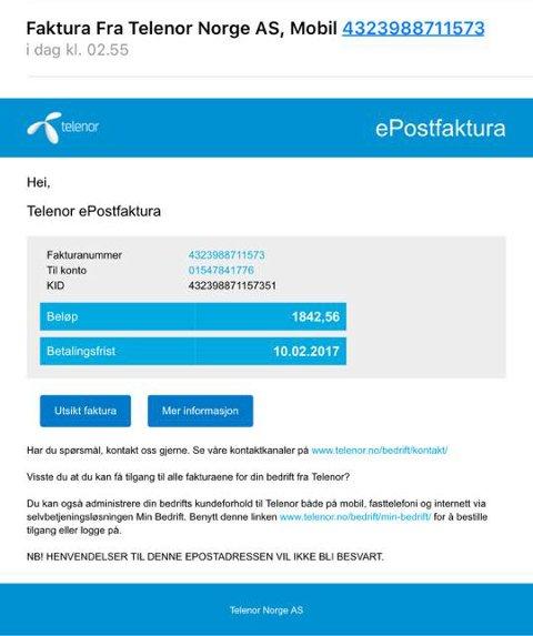Slik ser mailen fra Telenor ut.