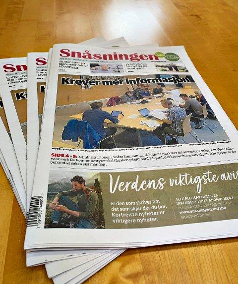 SNÅSNINGEN: En pakke med 120 eksemplarer av Snåsningen er savnet da de ikke ankom Snåsa onsdag. Det er abonnenter i Sørbygda og på strekningen Klev-Holsing som er rammet.
