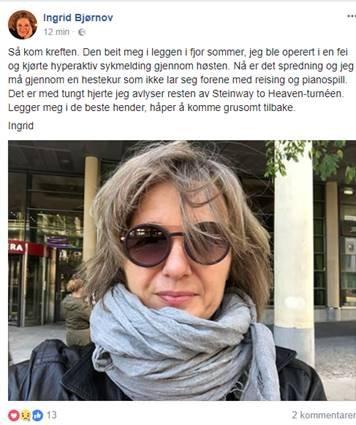 KREFTSYK: Ingrid Bjørnov håper på «å komme grusomt tilbake», melder hun selv på Facebook.