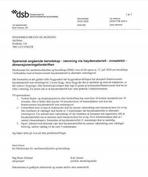 DIREKTORATETS MELDING: Direktoratet for samfunnssikkerhet og beredskap, ved seksjonssjef Dag Rune Omland og Kari Jensen, juridisk utredningsleder,  skriver blant annet følgende i et brev som er datert 29. juli i fjor: (...) «i nyere bygg,-høye bygg der det er sprinklet og med ett trapperom, er det verken i bygnings- eller brannlovgivningen ikke lagt til grunn at kommunen/brannvesenet skal ha en rolle i rømning. En annen sak er at høydemateriell kan være praktisk i slukkeinnsatsen».