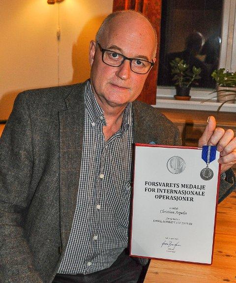 VETERAN: Christian Aspelin fra Jaren fikk Forsvarets medalje for internasjonale operasjoner.