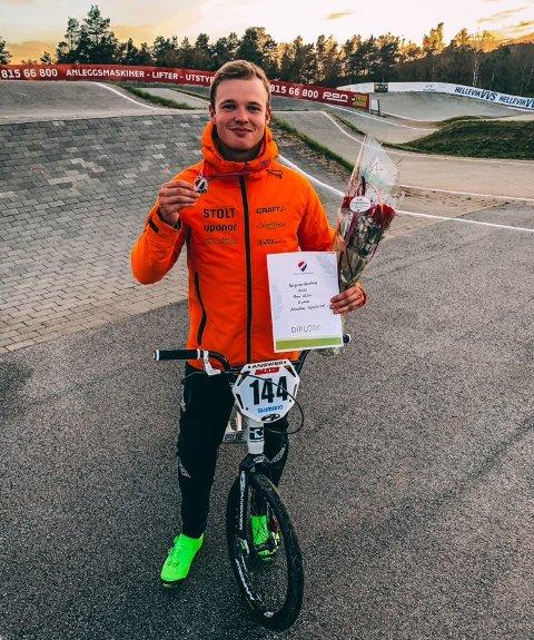 NM-SØLV: Sebastian Aslaksrud tok sølv under helgens Norgesmesterskap i BMX på Vestlandet – selv om oppkjøringen ikke var optimal.