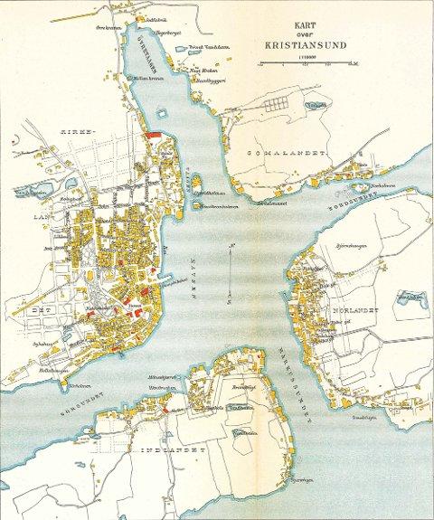 Et kart som er fra 1911 over Kristiansund.