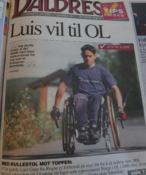 Til OL: Slik så oppslaget i avisa Valdres 31. juli 1999 ut.