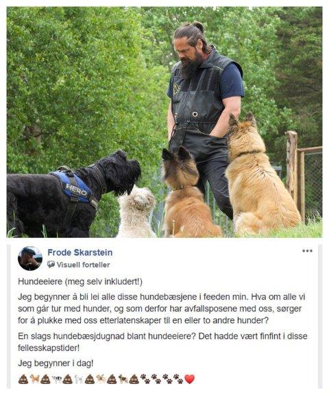 Tirsdag tok Frode Skarstein til Facebook, og oppfordret alle hundeeiere til hundebæsjdugnad i disse fellesskaptider. Det engasjerte mange, – blant annet Eric Sandvold, som er gründer, daglig leder og instruktør ved Sola hundesenter.