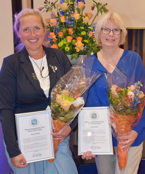 Prisen som årets sykepleierleder ble delt mellom Inger Lise Lervik (til venstre) og Gro Birkeland.